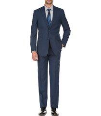 english laundry men's slim-fit plaid wool suit - blue - size 42 r