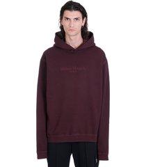 maison margiela sweatshirt in bordeaux cotton