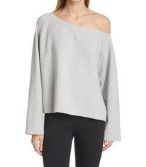 women's norma kamali one-shoulder sweatshirt, size large - grey