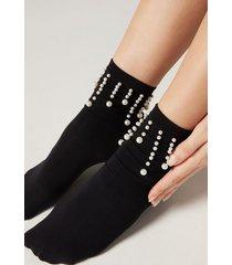 calzedonia pretty appliqué microfiber socks woman size tu