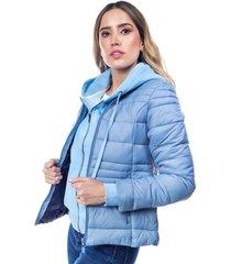 chaqueta para mujer acolchada sin capota y cremalleras laterales azul