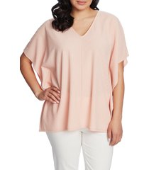 women's chaus textured knit poncho top, size small - coral