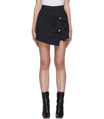 bow pearl embellished mini skirt