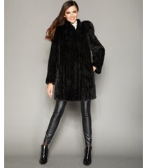 the fur vault fox-trimmed hooded mink coat