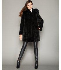 the fur vault fox-trimmed hooded mink coat