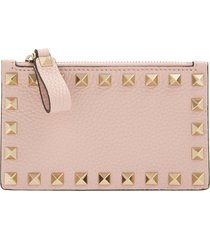 women's valentino garavani rockstud leather zip card case - pink