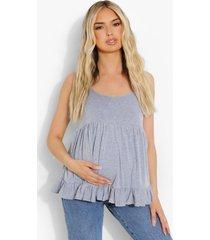 zwangerschap hemdje met geplooide zoom, grey