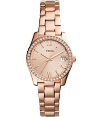 fossil women's scarlette rose gold-tone stainless steel bracelet watch 32mm