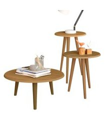 conjunto decorativo lyam decor mesa de centro e laterais marrom cinamomo