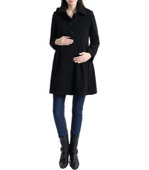 women's kimi and kai faye hooded wool blend maternity peacoat, size medium - black