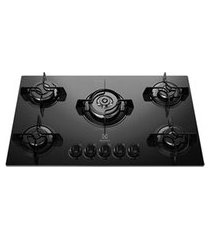 cooktop a gás electrolux mesa em vidro com 05 bocas, acendimento super automático e tripla-chama, preto - ke5tp