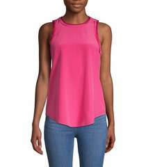 cinq à sept women's pleated silk top - pink - size xs