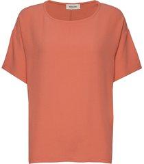 geo top blouses short-sleeved orange modström