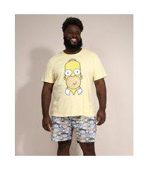 pijama masculino plus size homer simpson manga curta amarelo