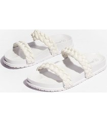 womens world at your feet faux leather braided sandals - white