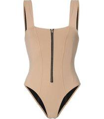 rochelle sara kelsey zip detail swimsuit - neutrals