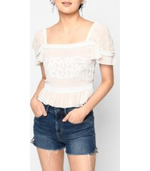 nicole miller women's embellished silk blouse