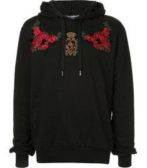 dolce & gabbana floral patch hoodie - black