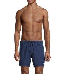 emporio armani men's boxer swim trunks - solid blue - size s