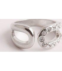 anillo cut out con cristales.-uni