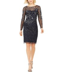 adrianna papell beaded long-sleeve dress