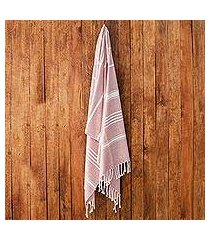 cotton beach towel, 'fresh relaxation in carnation' (guatemala)