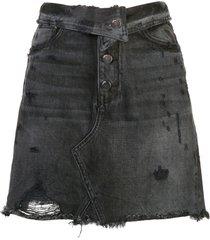amiri fold over denim skirt - black