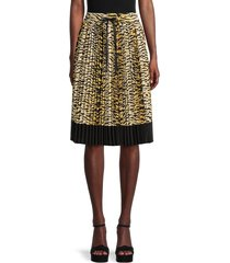 redvalentino women's tiger-print pleated skirt - cammello - size 42 (10)