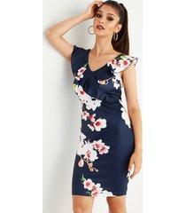 adornos con volantes y cuello en v con estampado floral azul marino vestido