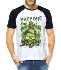 camiseta criativa urbana raglan verão férias praia surf