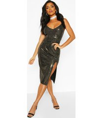 sequin strappy plunge front split midi dress, gold