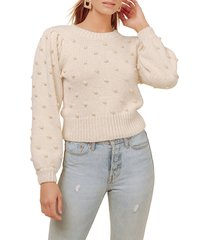 women's astr the label aidy pompom dot sweater, size small - ivory