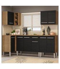cozinha completa de canto madesa emilly open com armário e balcão rustic/preto rustic