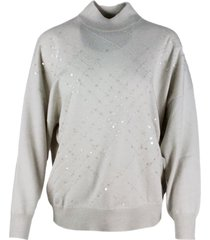 brunello cucinelli oversized turtleneck sweater in cashmere with window embroidery with applied sequins