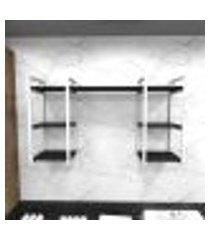 prateleira industrial lavanderia aço cor branco 120x30x68cm cxlxa cor mdf preto modelo ind29plav