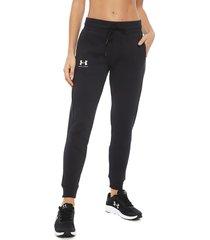 pantalón de buzo under armour rival fleece fashion jogger negro - calce holgado
