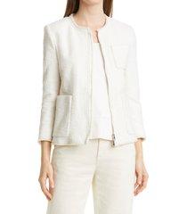 petite women's boss jilira wool & silk tweed fringe jacket, size 8p - white