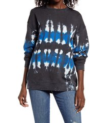 women's treasure & bond tie dye cotton blend sweatshirt, size x-small - grey