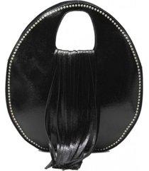 cartera redonda flecos black zagora