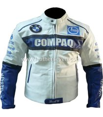 men mens bmw compaq white cowhide leather motorcycle motorbike biker jacket