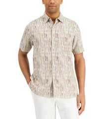 tasso elba men's island print striped shirt, created for macy's