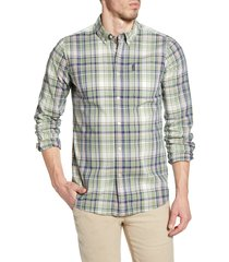 men's barbour madras 6 tailored fit check button-up shirt, size xx-large - green