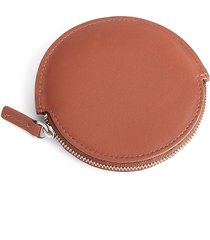 royce new york travel earbud leather carrying case - tan