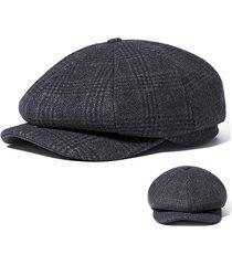uomo vintage berretto invernale ottagonale a scacchi in lana da newsboy guidatore coppola