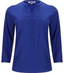blusa pechera con botones unicolor color azul, talla xs