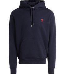 ami alexandre mattiussi ami paris navy blue hoodie with logo