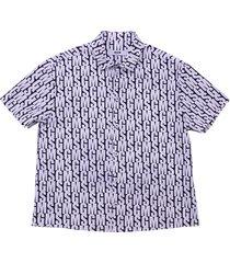 msgm logo black & white cotton poplin shirt