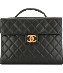 chanel pre-owned 1995s cc matelasse caviar skin leather briefcase -