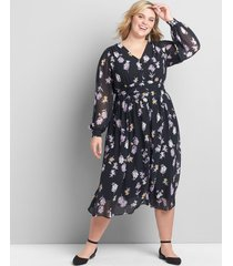 lane bryant women's floral button-front fit & flare dress 26 floral cascade