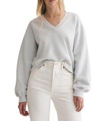 women's agolde balloon sleeve crop cotton sweatshirt, size x-large - blue